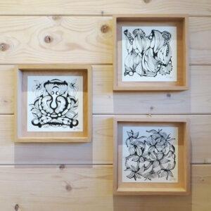 Original Zeichnung No.8 | mit Holzrahmen | 20x20cm