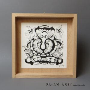 Original Zeichnung No.1 | mit Holzrahmen | 20x20cm