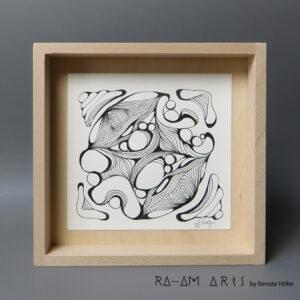 Original Zeichnung No.10 | mit Holzrahmen | 20x20cm