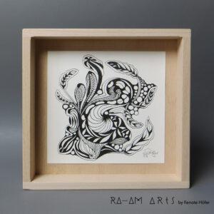 Original Zeichnung No.11 | mit Holzrahmen | 20x20cm