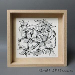 Original Zeichnung No.12 | mit Holzrahmen | 20x20cm