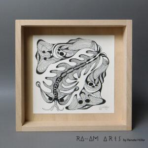 Original Zeichnung No.13 | mit Holzrahmen | 20x20cm