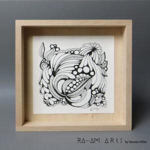 Original Zeichnung No.14 | mit Holzrahmen | 20x20cm