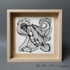 Original Zeichnung No.15 | mit Holzrahmen | 20x20cm