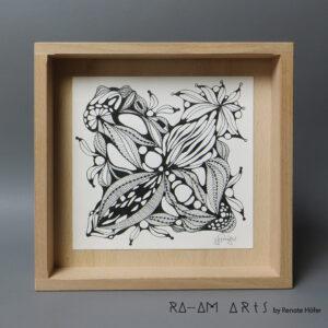 Original Zeichnung No.16 | mit Holzrahmen | 20x20cm