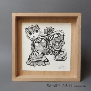 Original Zeichnung No.3 | mit Holzrahmen | 20x20cm