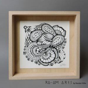 Original Zeichnung No.5 | mit Holzrahmen | 20x20cm