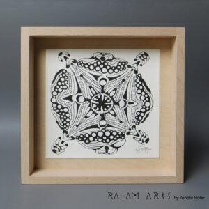 Original Zeichnung No.7 | mit Holzrahmen | 20x20cm
