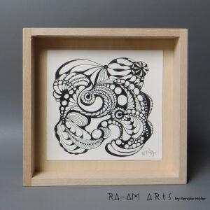 Original Zeichnung No.9 | mit Holzrahmen | 20x20cm