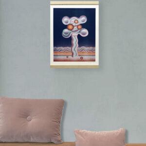 A3 Risographie Artprint | Motiv Tree | col. blue